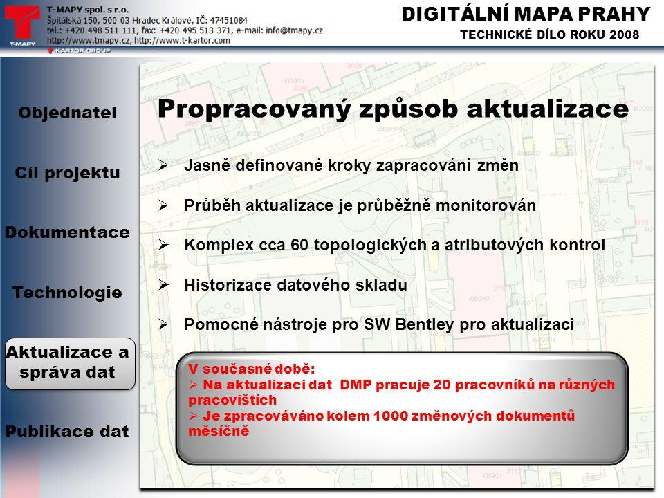 DIGITÁLNÍ MAPA PRAHY TECHNICKÉ DÍLO ROKU 2008 Propracovaný způsob aktualizace  Jasně definované kroky zapracování změn  Průběh aktualizace je průběž