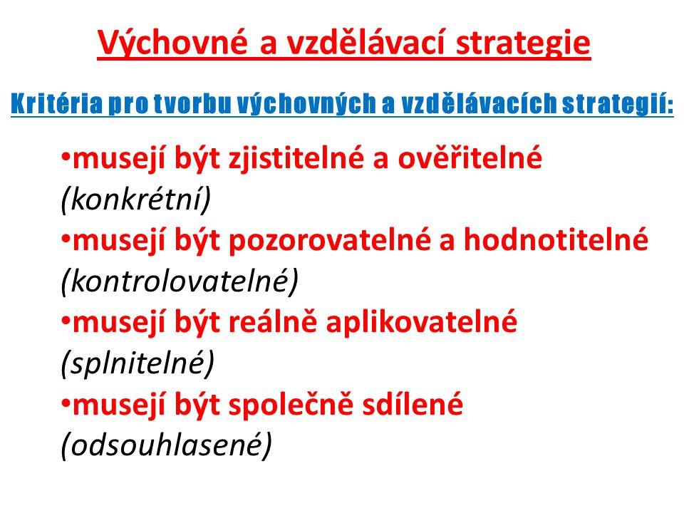 Výchovné a vzdělávací strategie • musejí být zjistitelné a ověřitelné (konkrétní) • musejí být pozorovatelné a hodnotitelné (kontrolovatelné) • musejí