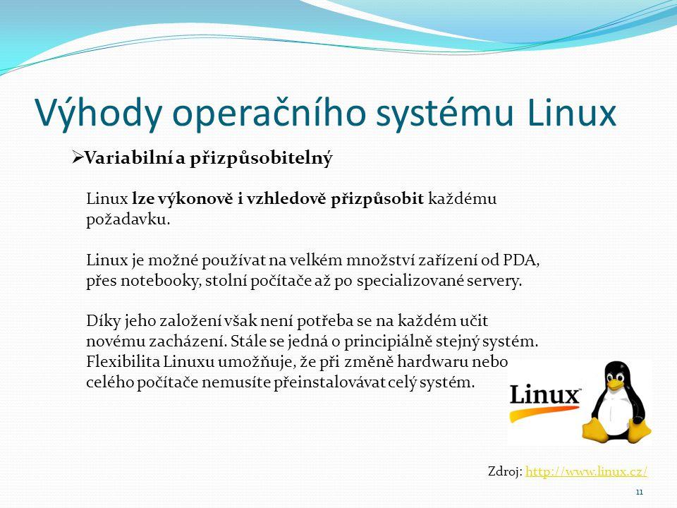 Výhody operačního systému Linux 11  Variabilní a přizpůsobitelný Zdroj: http://www.linux.cz/http://www.linux.cz/ Linux lze výkonově i vzhledově přizp