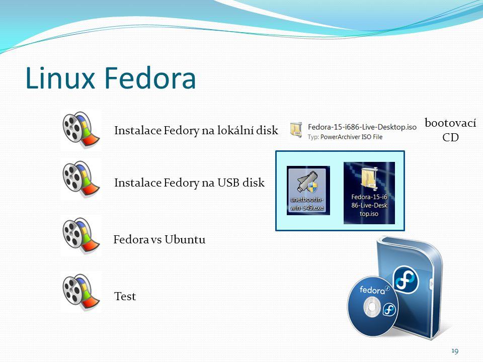 Linux Fedora 19 Instalace Fedory na lokální disk Instalace Fedory na USB disk Fedora vs Ubuntu Test bootovací CD