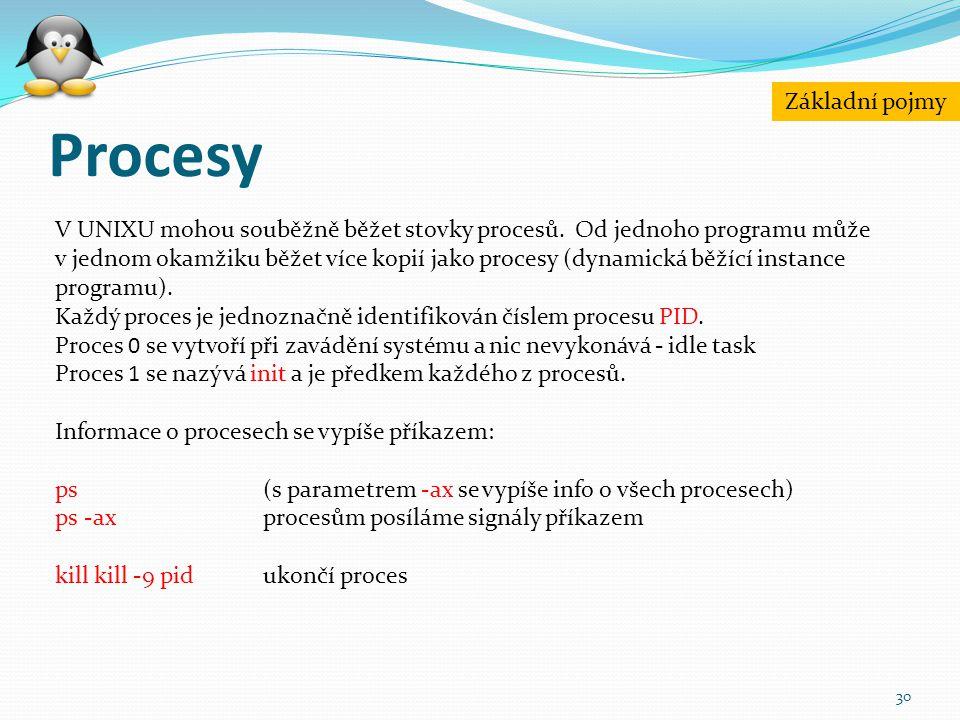 Procesy 30 V UNIXU mohou souběžně běžet stovky procesů. Od jednoho programu může v jednom okamžiku běžet více kopií jako procesy (dynamická běžící ins