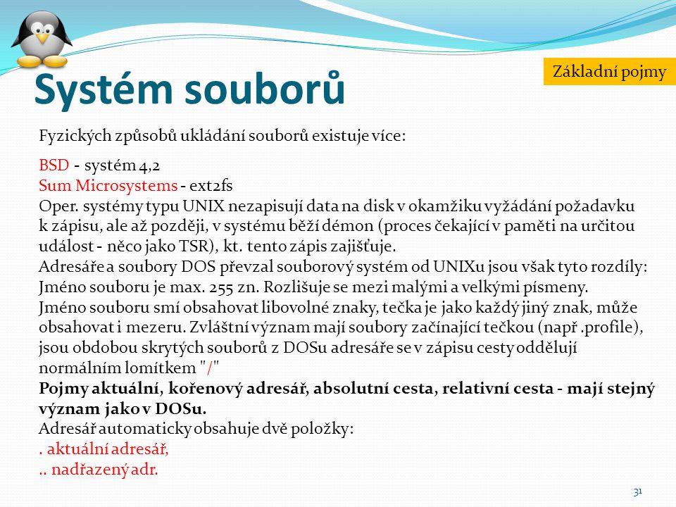 Systém souborů 31 Fyzických způsobů ukládání souborů existuje více: BSD - systém 4,2 Sum Microsystems - ext2fs Oper. systémy typu UNIX nezapisují data