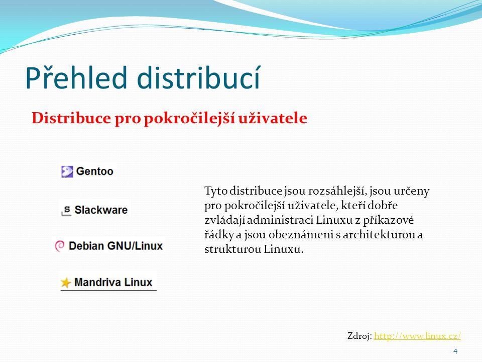 Přehled distribucí 4 Zdroj: http://www.linux.cz/http://www.linux.cz/ Distribuce pro pokročilejší uživatele Tyto distribuce jsou rozsáhlejší, jsou urče