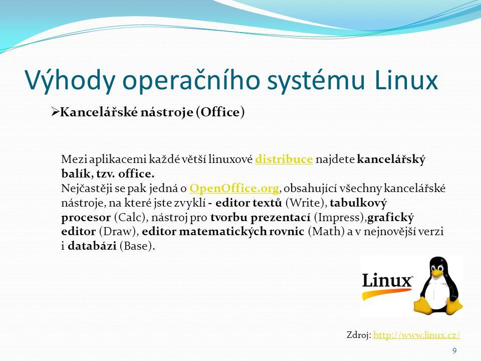 Výhody operačního systému Linux 9  Kancelářské nástroje (Office) Zdroj: http://www.linux.cz/http://www.linux.cz/ Mezi aplikacemi každé větší linuxové