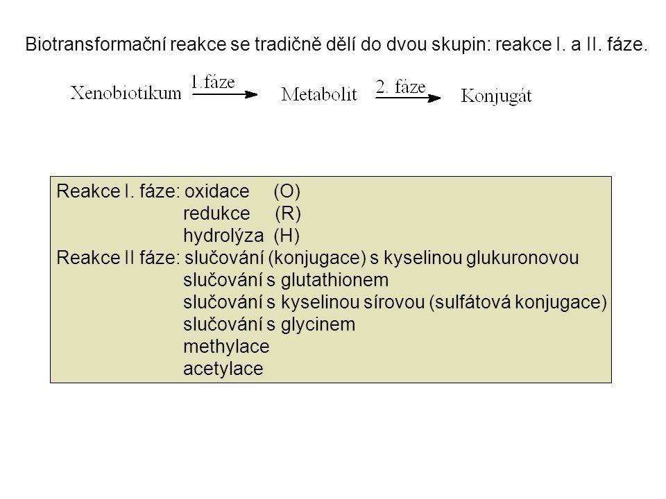 Biotransformační reakce se tradičně dělí do dvou skupin: reakce I. a II. fáze. Reakce I. fáze: oxidace (O) redukce (R) hydrolýza (H) Reakce II fáze: s