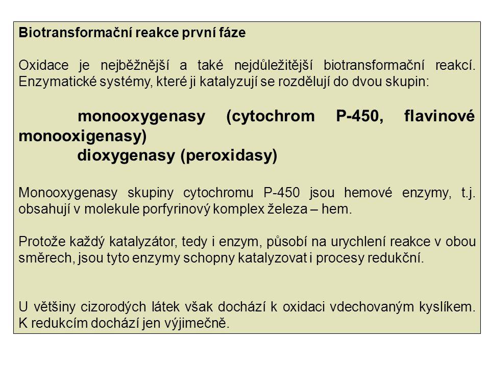 Biotransformační reakce první fáze Oxidace je nejběžnější a také nejdůležitější biotransformační reakcí. Enzymatické systémy, které ji katalyzují se r