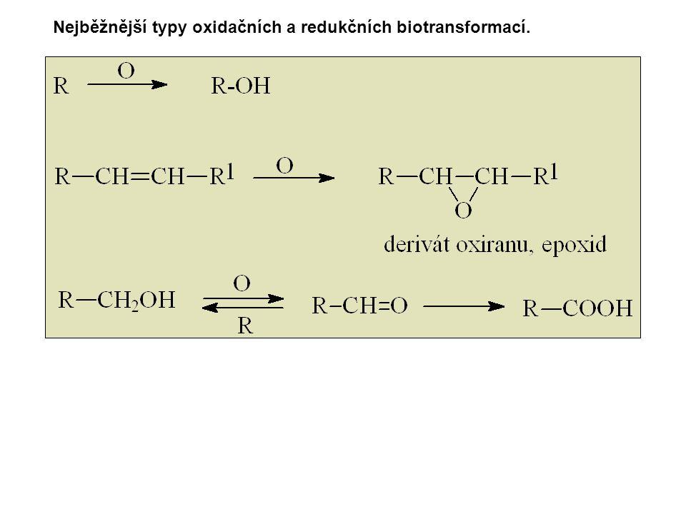 Nejběžnější typy oxidačních a redukčních biotransformací.