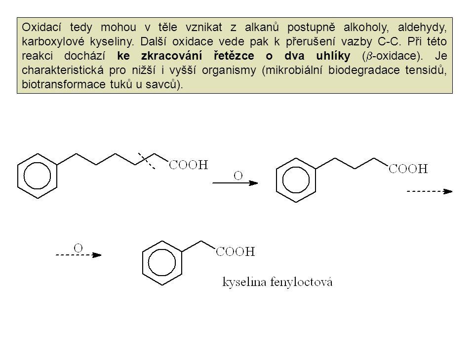 Oxidací tedy mohou v těle vznikat z alkanů postupně alkoholy, aldehydy, karboxylové kyseliny. Další oxidace vede pak k přerušení vazby C-C. Při této r