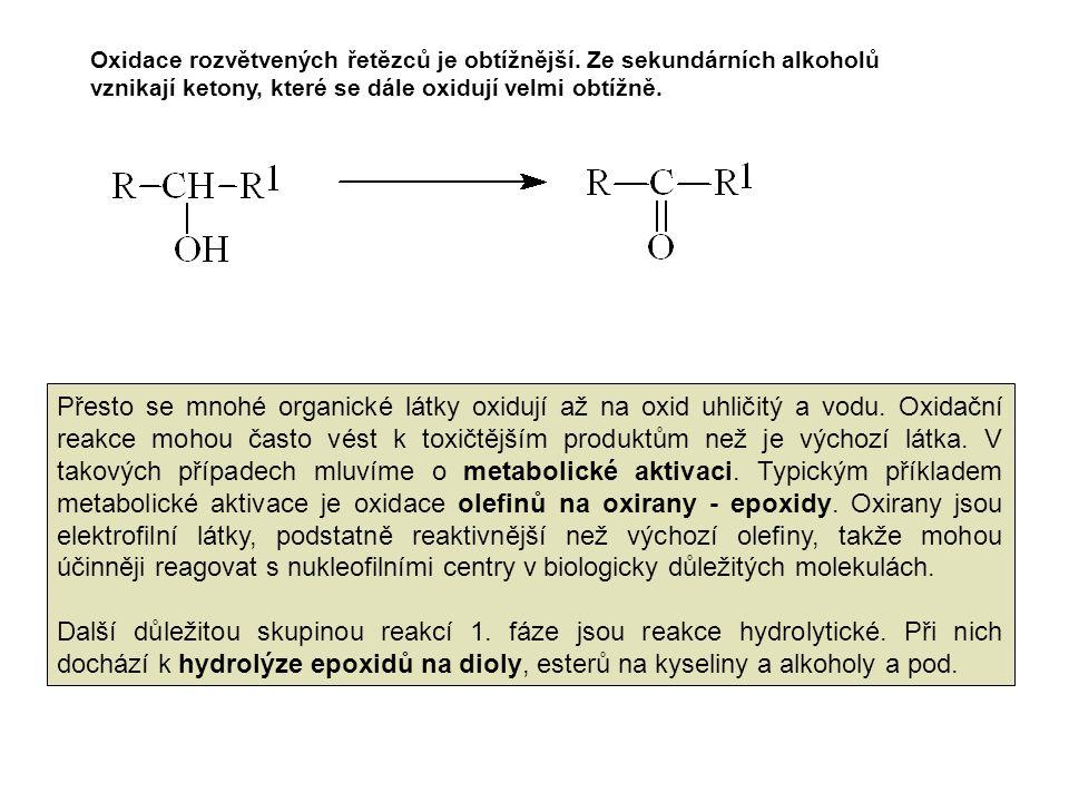 Oxidace rozvětvených řetězců je obtížnější. Ze sekundárních alkoholů vznikají ketony, které se dále oxidují velmi obtížně. Přesto se mnohé organické l