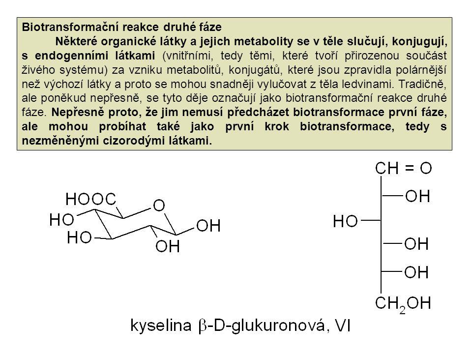 Biotransformační reakce druhé fáze Některé organické látky a jejich metabolity se v těle slučují, konjugují, s endogenními látkami (vnitřními, tedy těmi, které tvoří přirozenou součást živého systému) za vzniku metabolitů, konjugátů, které jsou zpravidla polárnější než výchozí látky a proto se mohou snadněji vylučovat z těla ledvinami.
