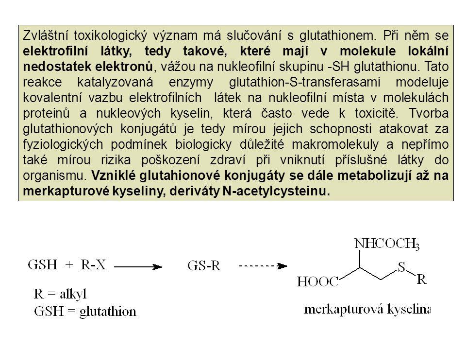 Zvláštní toxikologický význam má slučování s glutathionem. Při něm se elektrofilní látky, tedy takové, které mají v molekule lokální nedostatek elektr