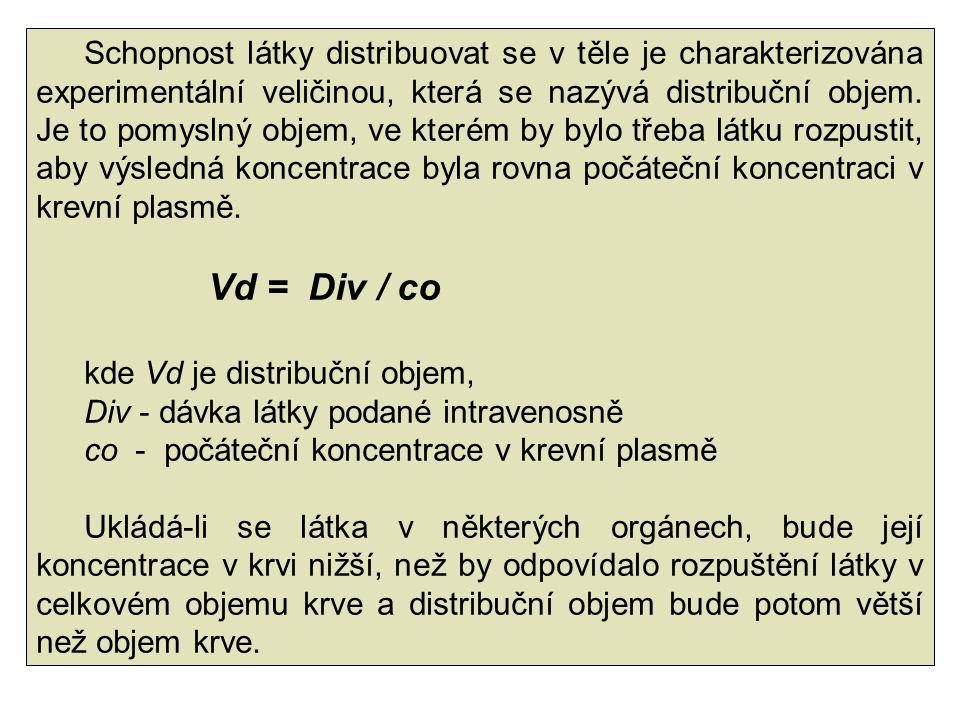 Schopnost látky distribuovat se v těle je charakterizována experimentální veličinou, která se nazývá distribuční objem. Je to pomyslný objem, ve které