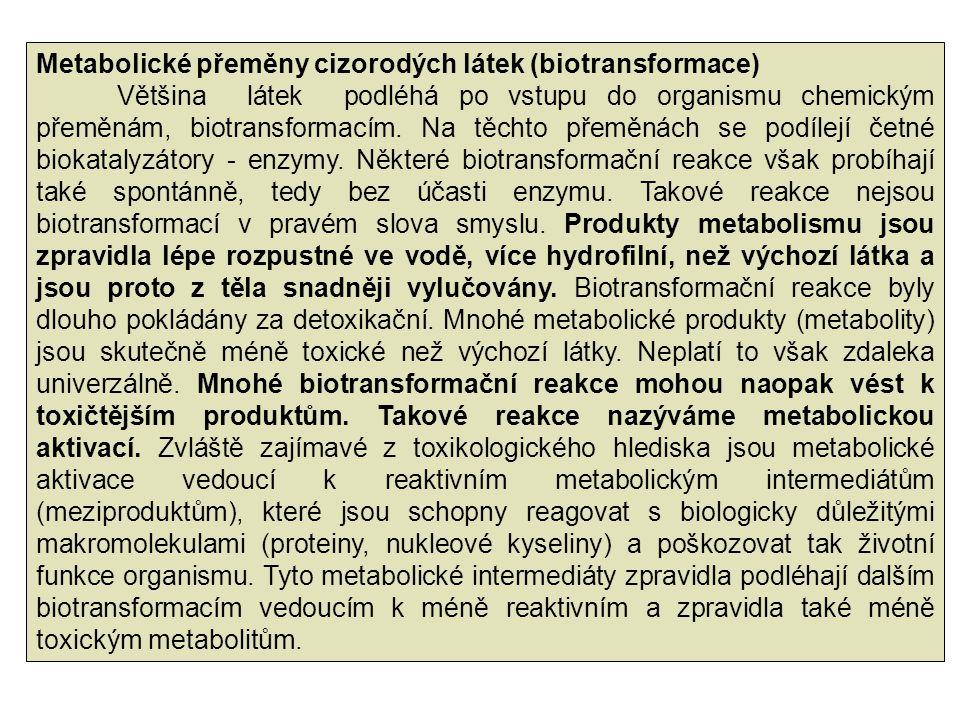 Metabolické přeměny cizorodých látek (biotransformace) Většina látek podléhá po vstupu do organismu chemickým přeměnám, biotransformacím. Na těchto př