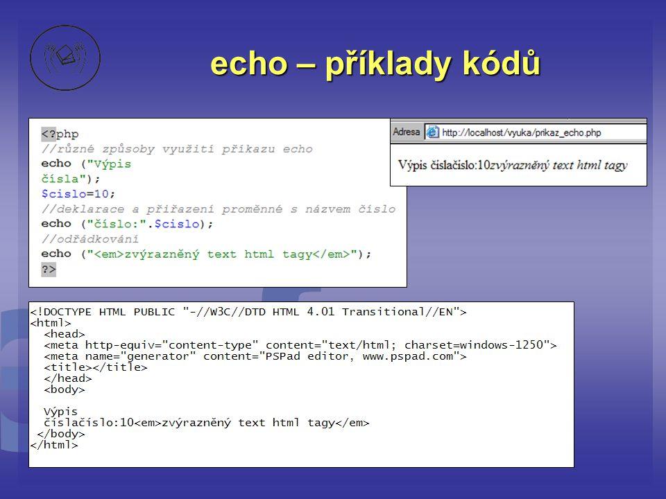 echo – příklady kódů