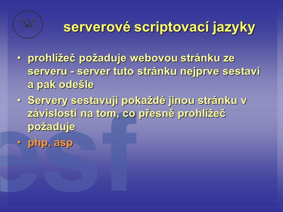 serverové scriptovací jazyky •prohlížeč požaduje webovou stránku ze serveru - server tuto stránku nejprve sestaví a pak odešle •Servery sestavují poka