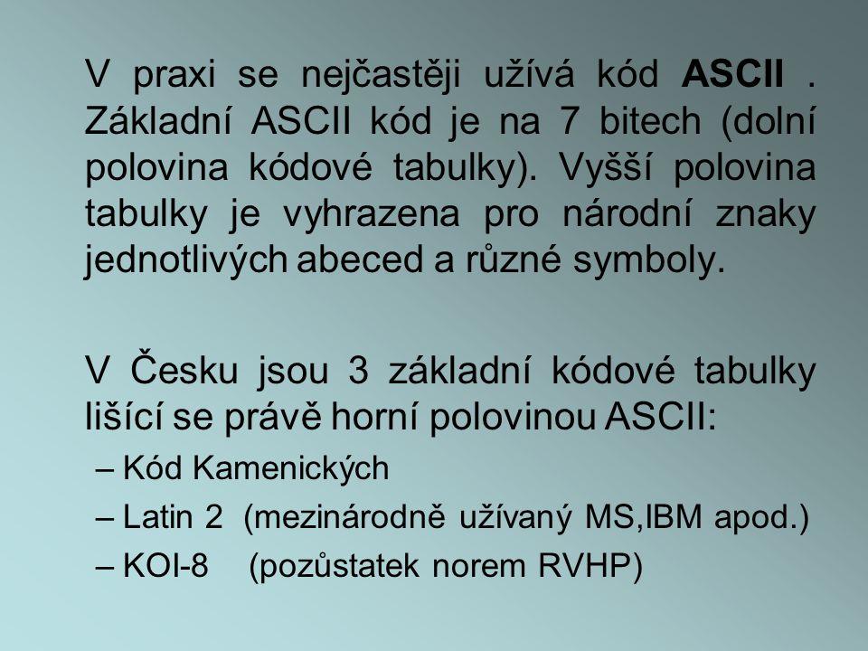V praxi se nejčastěji užívá kód ASCII.