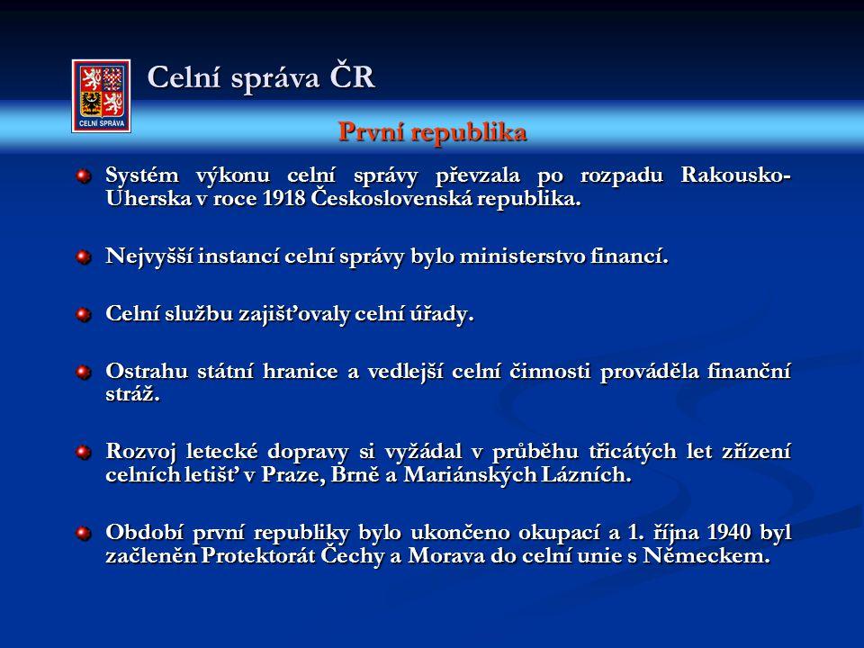 První republika Celní správa ČR Systém výkonu celní správy převzala po rozpadu Rakousko- Uherska v roce 1918 Československá republika. Nejvyšší instan