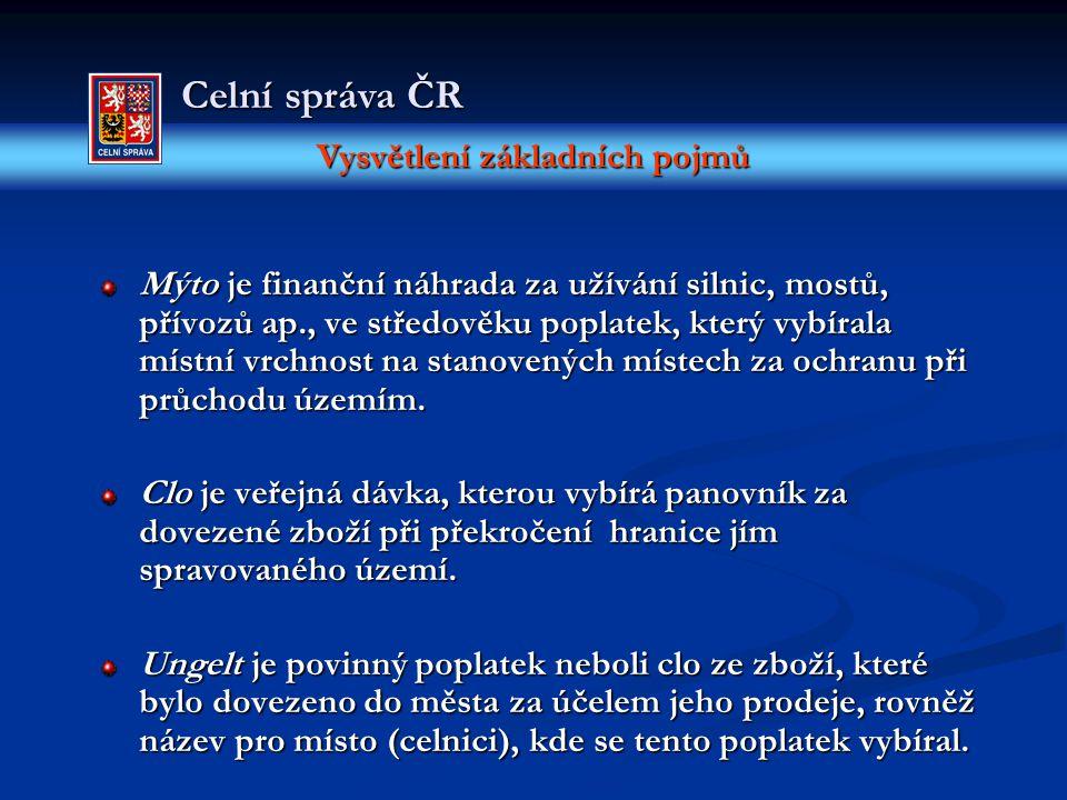 Vysvětlení základních pojmů Celní správa ČR Mýto je finanční náhrada za užívání silnic, mostů, přívozů ap., ve středověku poplatek, který vybírala mís