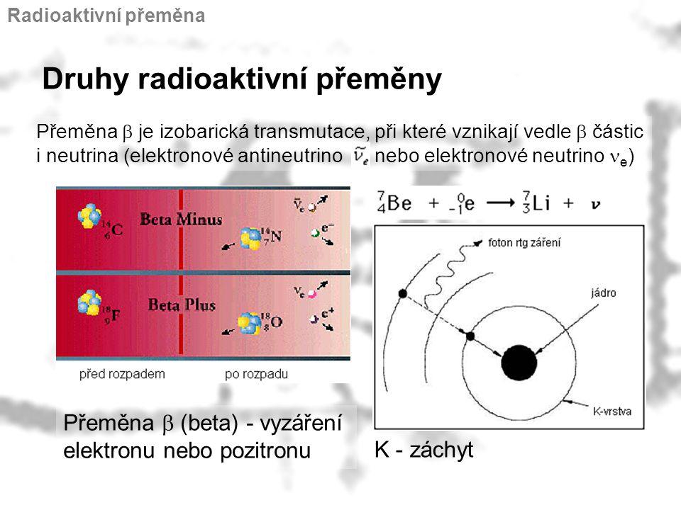 Přeměna  je izobarická transmutace, při které vznikají vedle  částic i neutrina (elektronové antineutrino nebo elektronové neutrino  e ) Druhy radi
