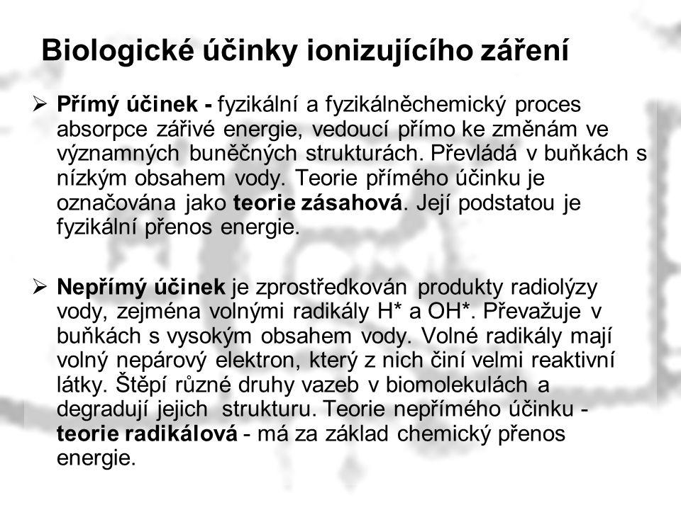Biologické účinky ionizujícího záření  Přímý účinek - fyzikální a fyzikálněchemický proces absorpce zářivé energie, vedoucí přímo ke změnám ve význam