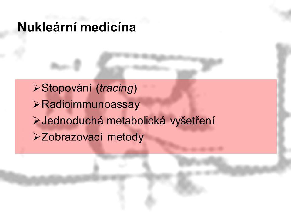 Nukleární medicína  Stopování (tracing)  Radioimmunoassay  Jednoduchá metabolická vyšetření  Zobrazovací metody