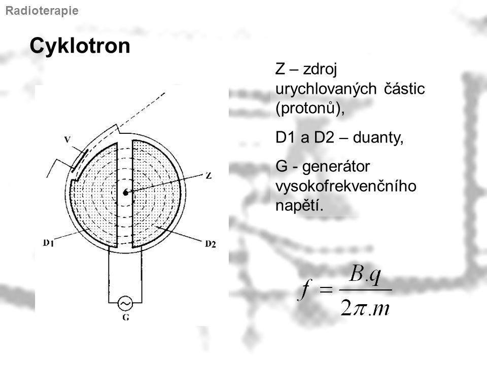 Cyklotron Z – zdroj urychlovaných částic (protonů), D1 a D2 – duanty, G - generátor vysokofrekvenčního napětí. Radioterapie