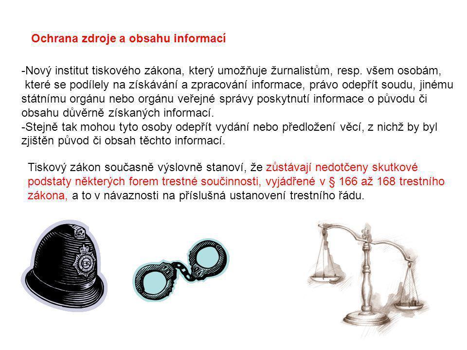 Ochrana zdroje a obsahu informací -Nový institut tiskového zákona, který umožňuje žurnalistům, resp. všem osobám, které se podílely na získávání a zpr
