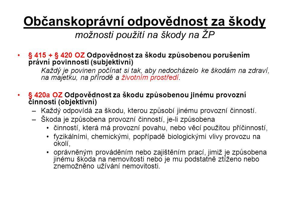 Občanskoprávní odpovědnost za škody možnosti použití na škody na ŽP •§ 415 + § 420 OZ Odpovědnost za škodu způsobenou porušením právní povinnosti (sub