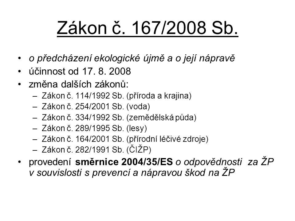 Zákon č. 167/2008 Sb. •o předcházení ekologické újmě a o její nápravě •účinnost od 17. 8. 2008 •změna dalších zákonů: –Zákon č. 114/1992 Sb. (příroda