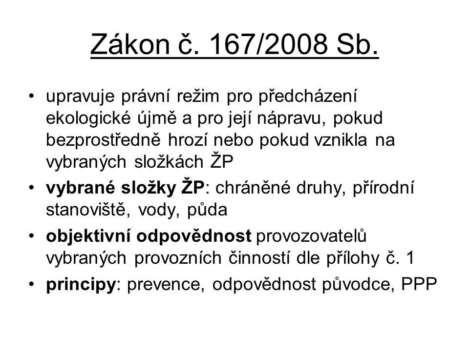 Zákon č. 167/2008 Sb. •upravuje právní režim pro předcházení ekologické újmě a pro její nápravu, pokud bezprostředně hrozí nebo pokud vznikla na vybra