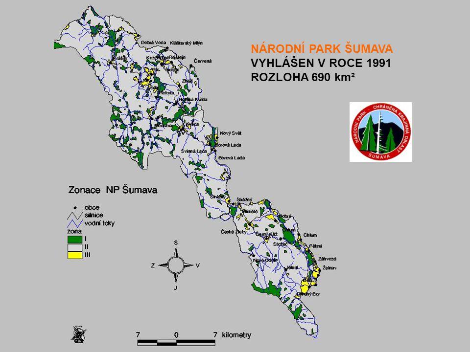 NÁRODNÍ PARK ŠUMAVA VYHLÁŠEN V ROCE 1991 ROZLOHA 690 km²