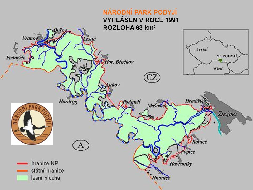 NÁRODNÍ PARK PODYJÍ VYHLÁŠEN V ROCE 1991 ROZLOHA 63 km²