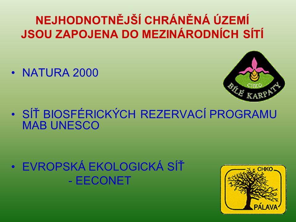 NEJHODNOTNĚJŠÍ CHRÁNĚNÁ ÚZEMÍ JSOU ZAPOJENA DO MEZINÁRODNÍCH SÍTÍ •NATURA 2000 •SÍŤ BIOSFÉRICKÝCH REZERVACÍ PROGRAMU MAB UNESCO •EVROPSKÁ EKOLOGICKÁ SÍŤ - EECONET