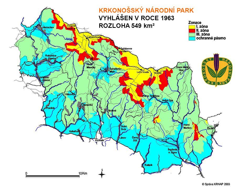 KRKONOŠSKÝ NÁRODNÍ PARK VYHLÁŠEN V ROCE 1963 ROZLOHA 549 km²