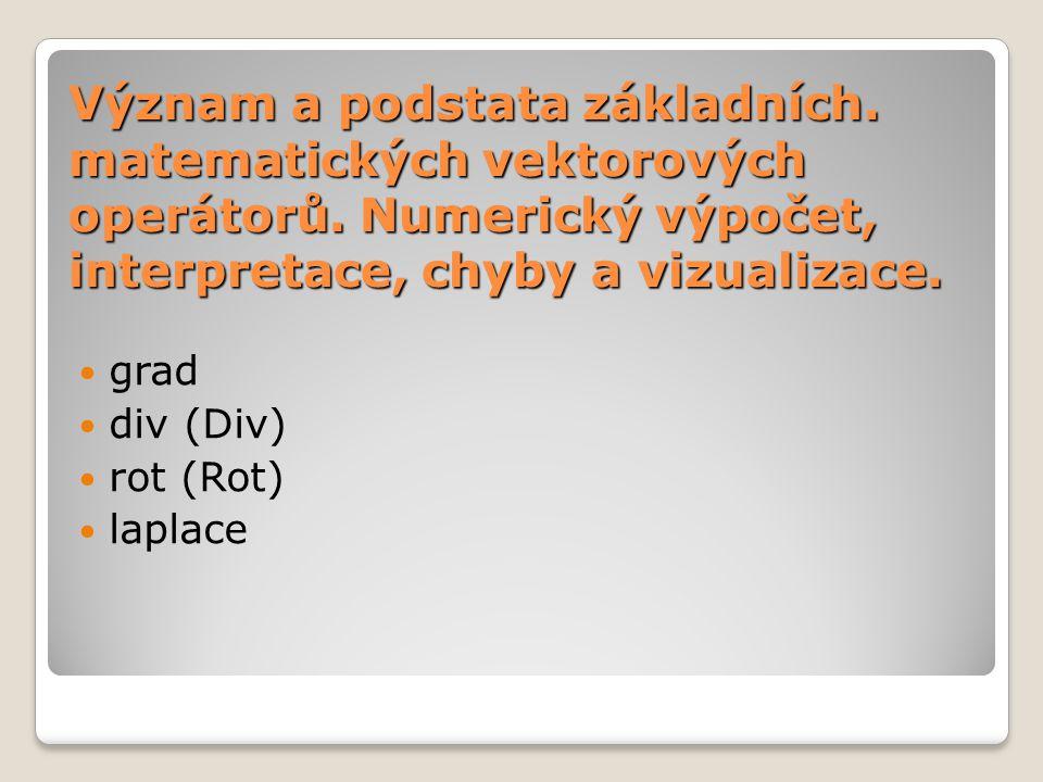 Význam a podstata základních.matematických vektorových operátorů.