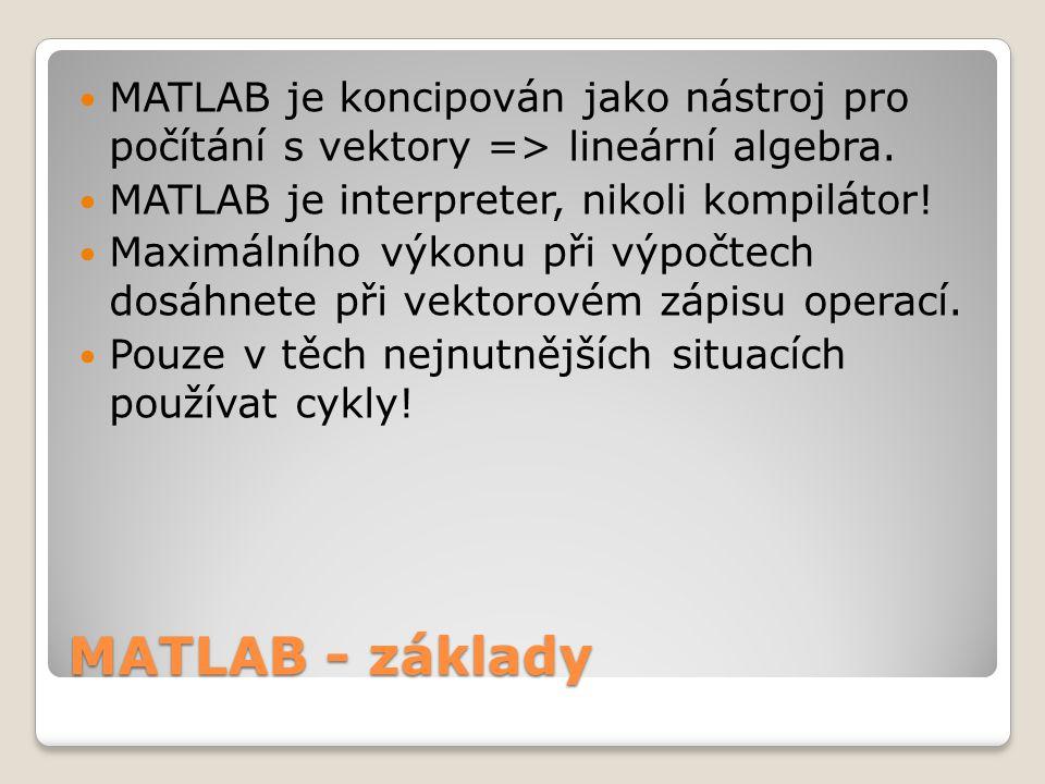 MATLAB - základy  MATLAB je koncipován jako nástroj pro počítání s vektory => lineární algebra.