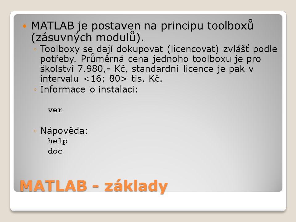 MATLAB - základy  MATLAB je postaven na principu toolboxů (zásuvných modulů).