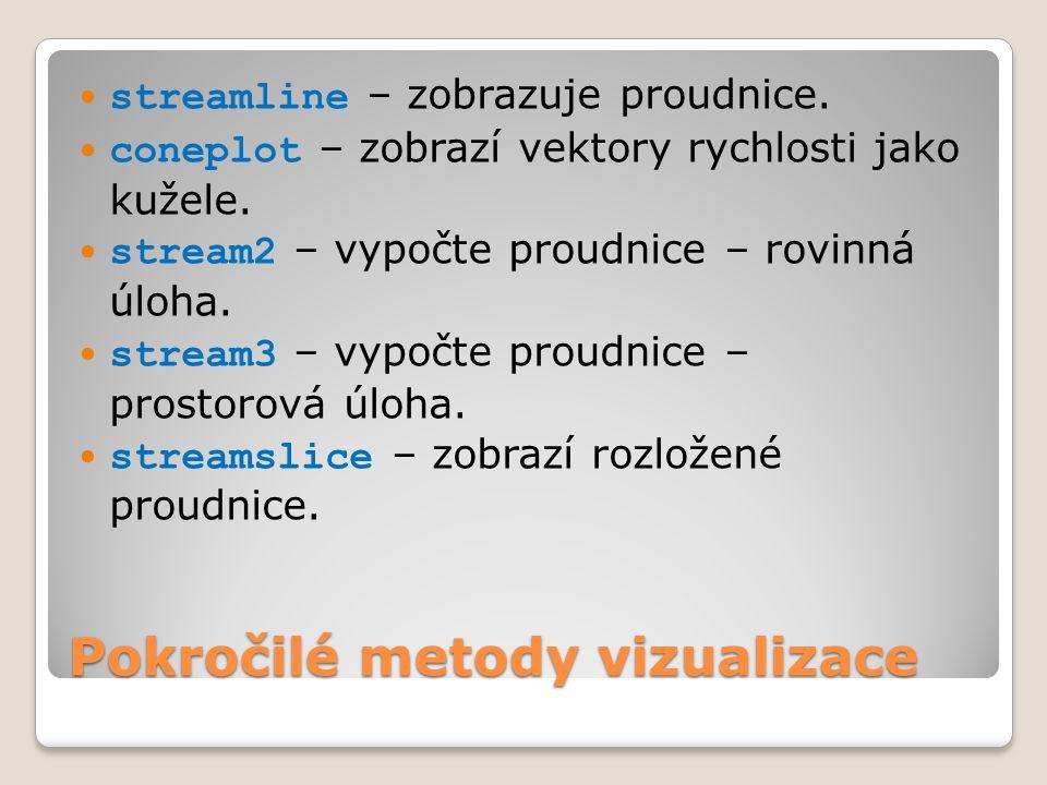  streamline – zobrazuje proudnice. coneplot – zobrazí vektory rychlosti jako kužele.