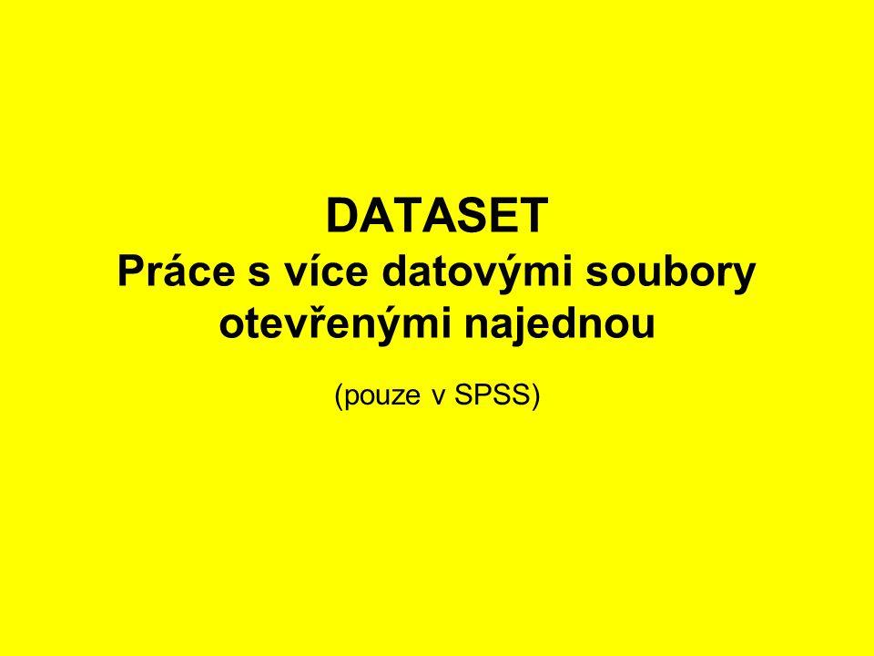 6 DATASET - Práce s více datovými soubory otevřenými najednou (pouze v SPSS) •V SPSS od verze 14 lze pracovat s více soubory otevřenými najednou pomocí DATASET příkazů (DATASET NAME, DATASET ACTIVATE, DATASET DECLARE, DATASET COPY, DATASET CLOSE) •Umožňují mít otevřeno vícero souborů najednou a pomocí jejich relativních jmen je ovládat – postupně aktivovat.