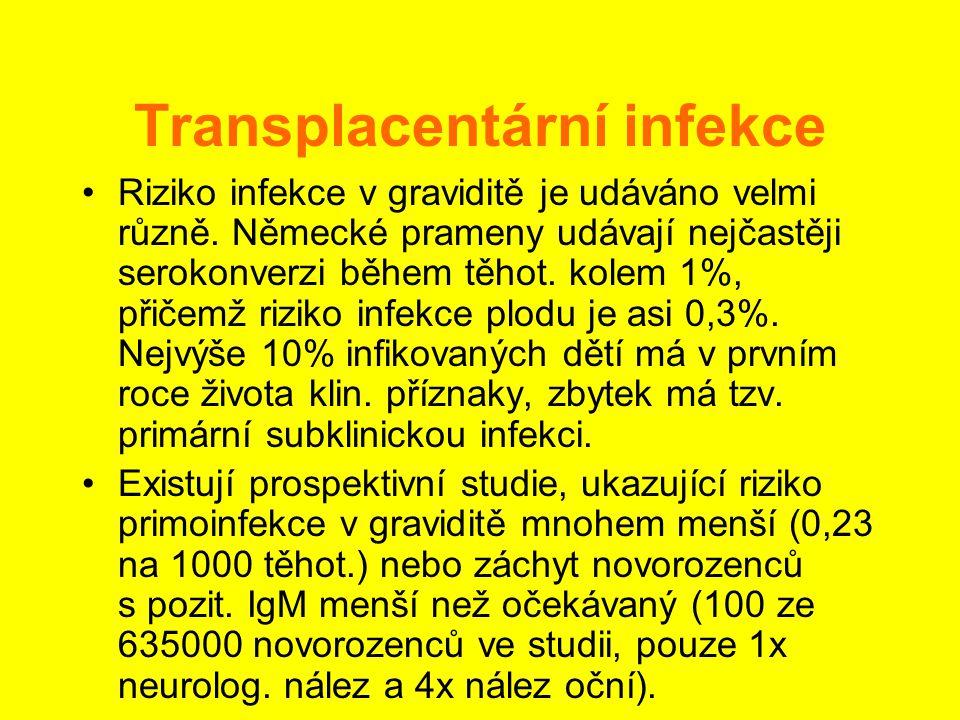 Transplacentární infekce •Riziko infekce v graviditě je udáváno velmi různě. Německé prameny udávají nejčastěji serokonverzi během těhot. kolem 1%, př
