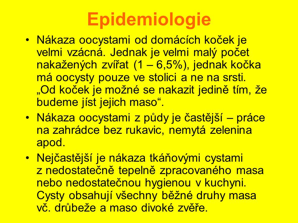 Epidemiologie •Prevalence infekce T.g.