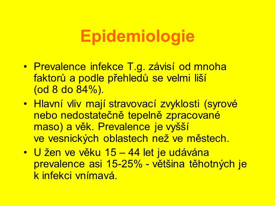 Epidemiologie •Prevalence infekce T.g. závisí od mnoha faktorů a podle přehledů se velmi liší (od 8 do 84%). •Hlavní vliv mají stravovací zvyklosti (s