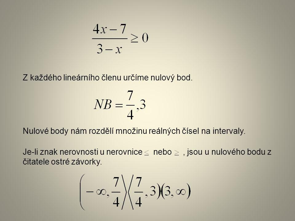 Je-li znak nerovnosti u nerovnice nebo, jsou u nulového bodu z čitatele ostré závorky. Nulové body nám rozdělí množinu reálných čísel na intervaly. Z