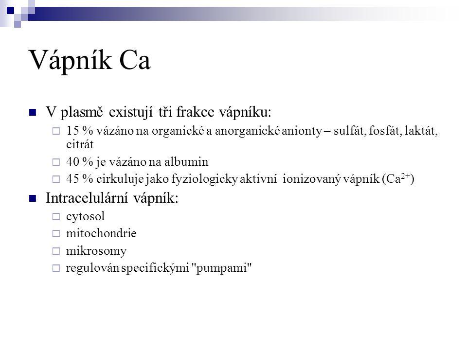 Vápník Ca  V plasmě existují tři frakce vápníku:  15 % vázáno na organické a anorganické anionty – sulfát, fosfát, laktát, citrát  40 % je vázáno n