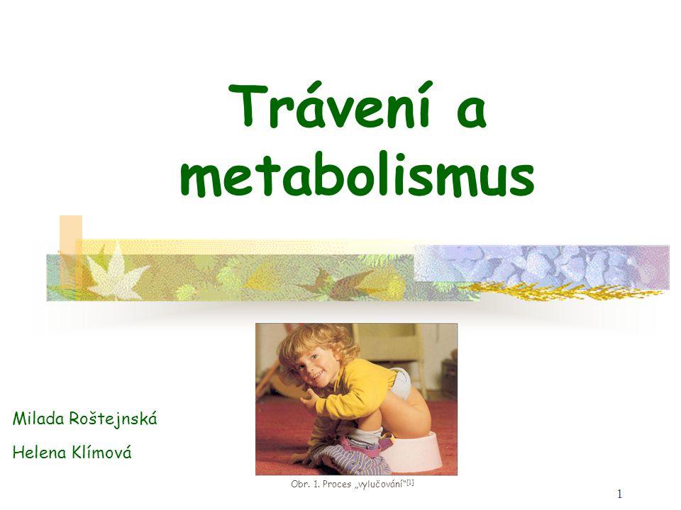 """1 Trávení a metabolismus Obr. 1. Proces """"vylučování"""" [1] Milada Roštejnská Helena Klímová"""