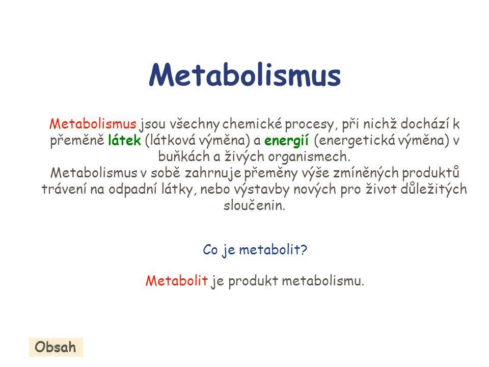 Metabolismus Metabolismus jsou všechny chemické procesy, při nichž dochází k přeměně látek (látková výměna) a energií (energetická výměna) v buňkách a