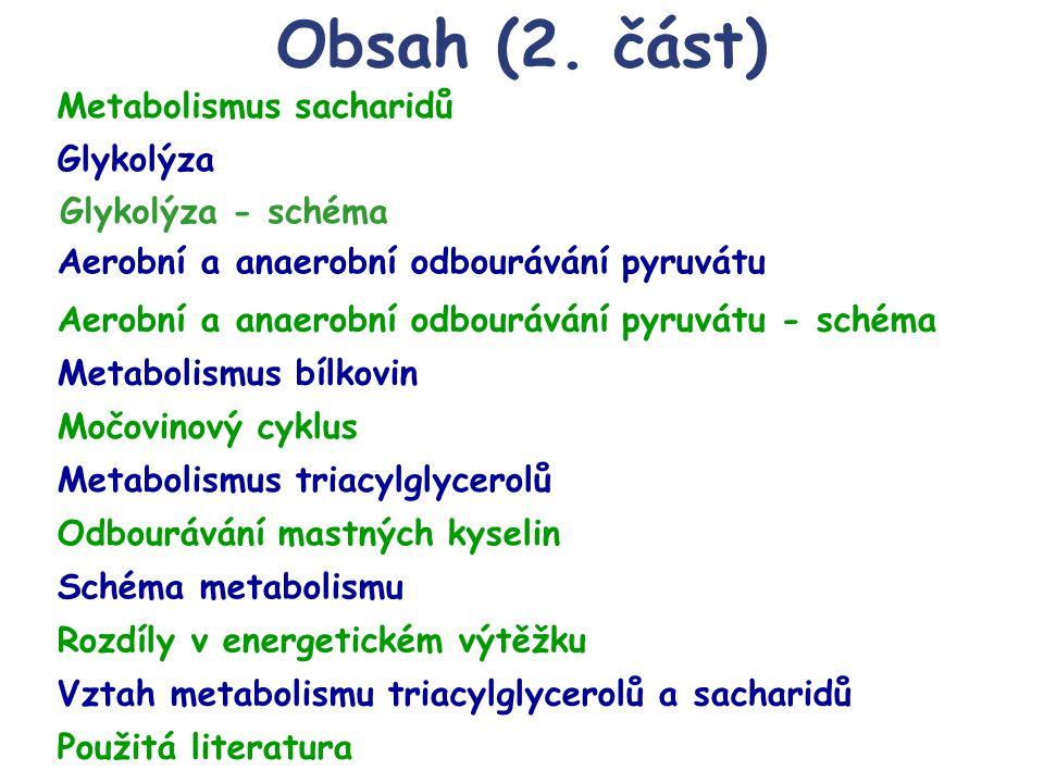 Obsah (2. část) Metabolismus bílkovin Močovinový cyklus Metabolismus triacylglycerolů Odbourávání mastných kyselin Schéma metabolismu Rozdíly v energe