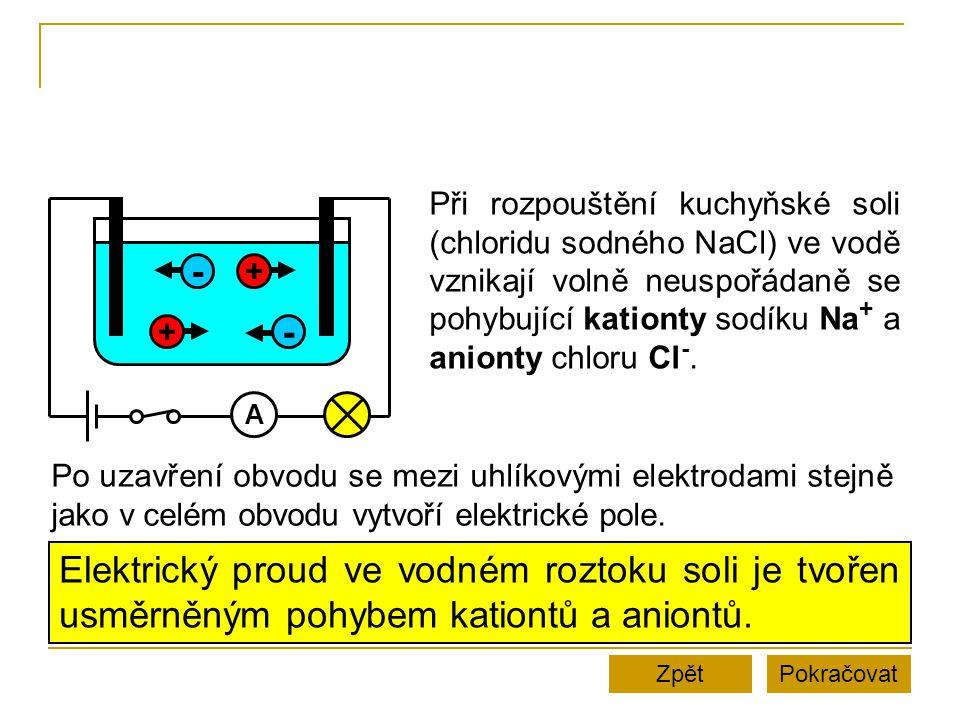 PokračovatZpět A + - + - Při rozpouštění kuchyňské soli (chloridu sodného NaCl) ve vodě vznikají volně neuspořádaně se pohybující kationty sodíku Na + a anionty chloru Cl -.