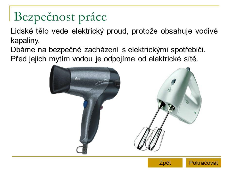 Bezpečnost práce PokračovatZpět Lidské tělo vede elektrický proud, protože obsahuje vodivé kapaliny.