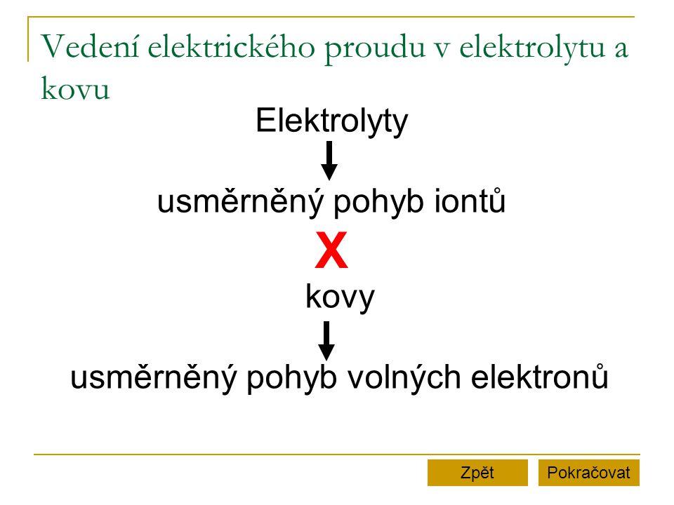 Vedení elektrického proudu v elektrolytu a kovu PokračovatZpět Elektrolyty usměrněný pohyb iontů kovy usměrněný pohyb volných elektronů X